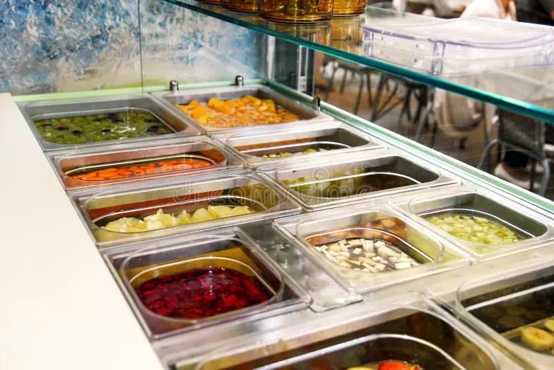 Various Fresh Fruit And Vegetable Salad Bar Healthy Items Fresh