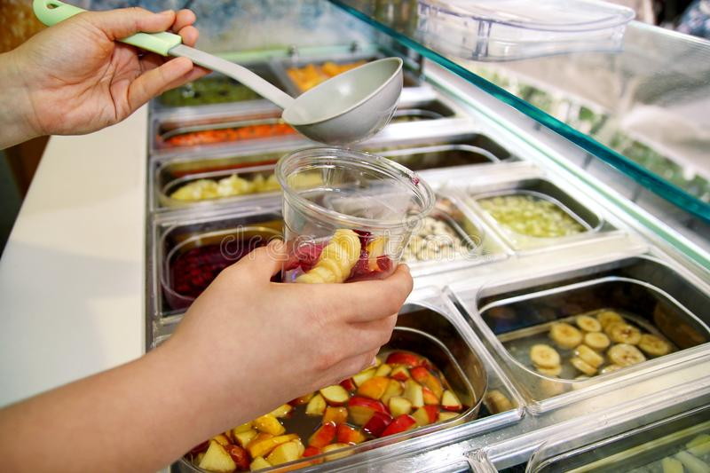 Various Fresh Fruit And Vegetable Salad Bar Healthy Items Hand Is