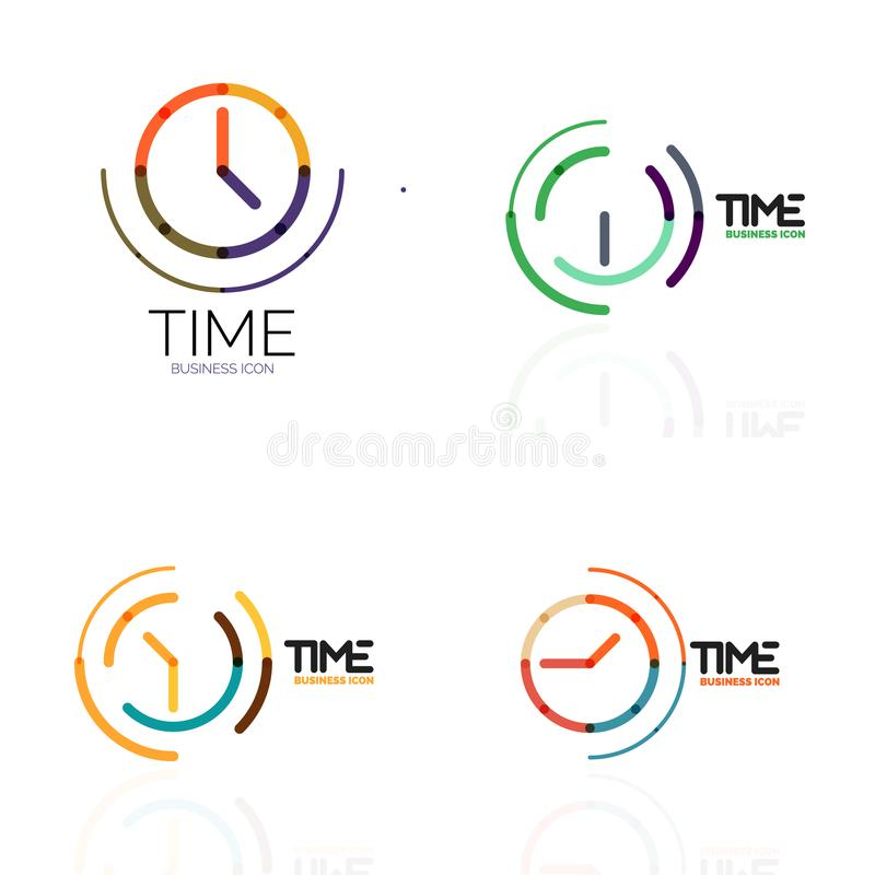 Vector Abstract Logo Idea, Time Concept Or Clock Business Icon Set