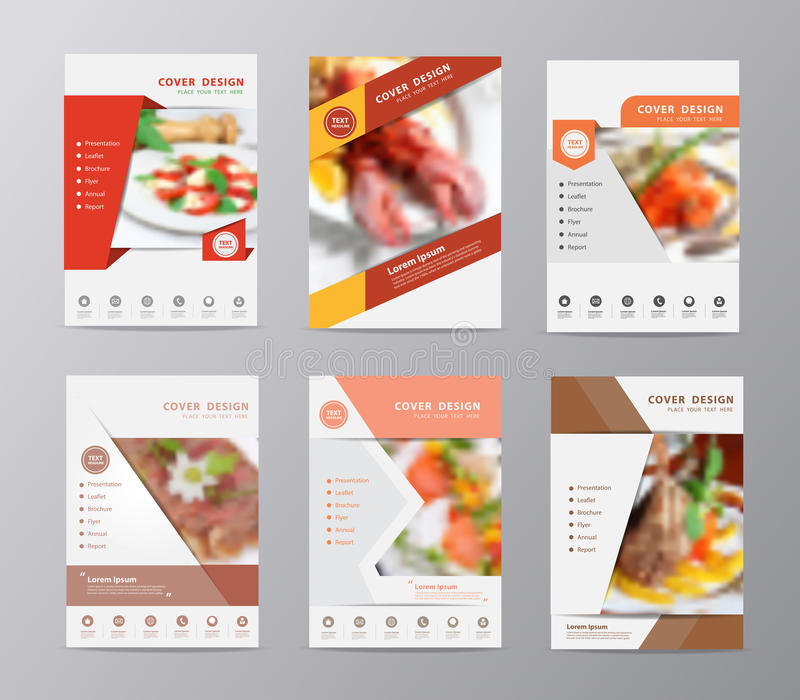 Vector Annual Report Brochure Flyer Food Blurred Background Stock