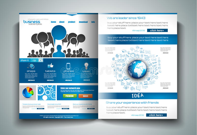 Vector Bi-fold Brochure Template Design Or Flyer Layout To Use For - product brochure template
