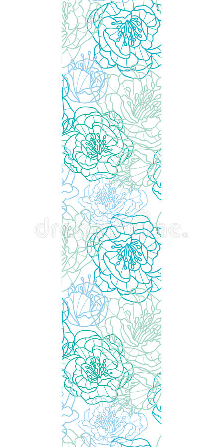 Vector Blue Line Art Flowers Vertical Border Stock Vector - vertical designs