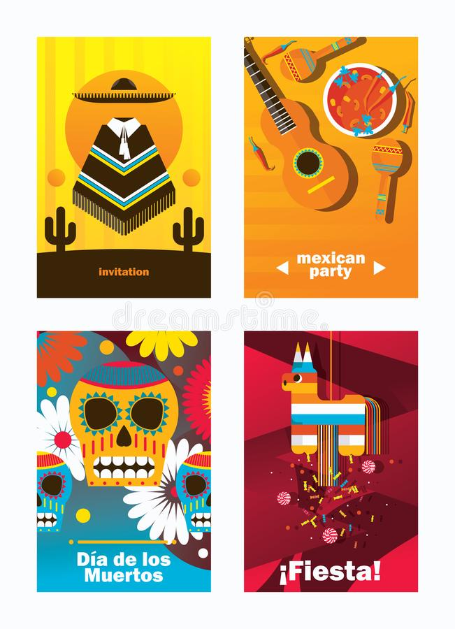 Vector Cards With Mexica Elements Vertical Design Templates - vertical designs