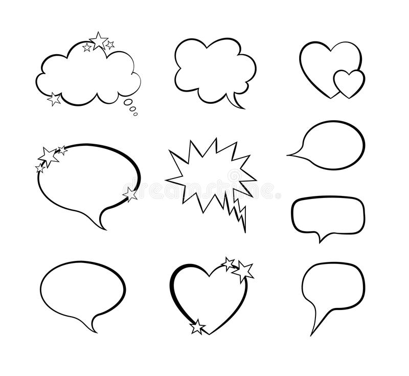 Vector Collection Of Word Bubble Comic Design Elements, Blank Frames - word design frames