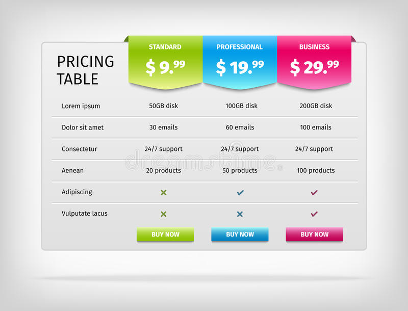 Vector Colorful Pricing Table Template For Stock Vector - price chart template