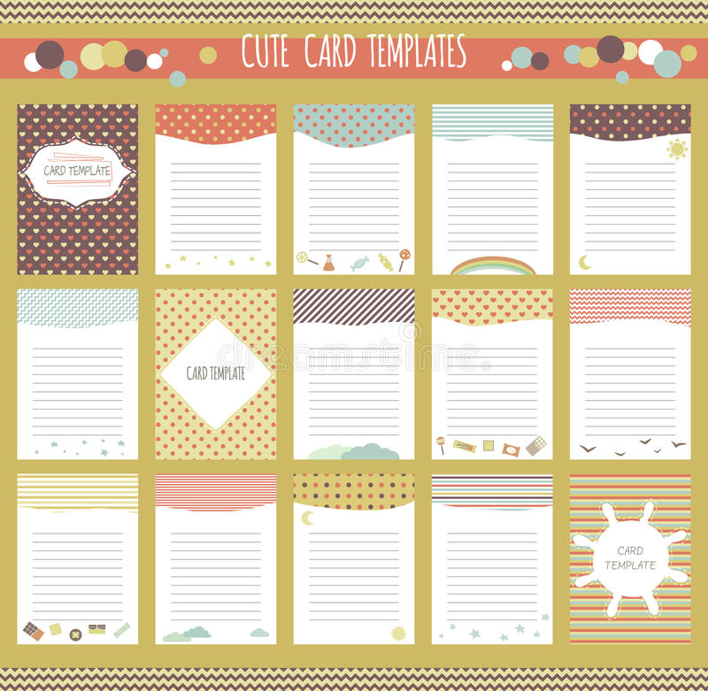 Vector Cute Cards Collection Stock Vector - Illustration of notebook - diary paper template