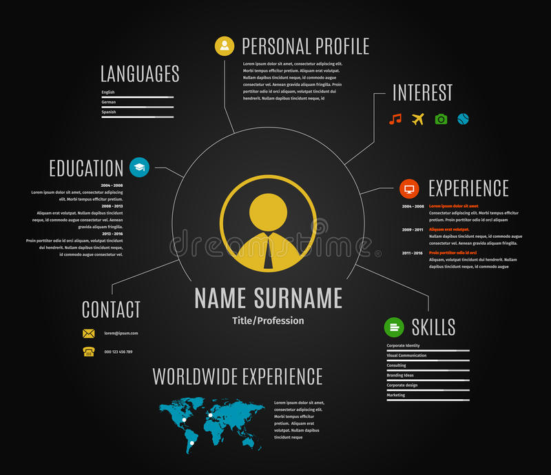 Vector Dark Resume Web Infographic Template Stock Vector - web resume