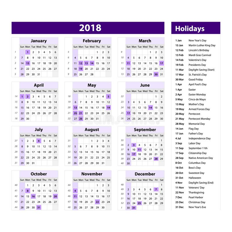 Vector Del Calendario Y De Los Días De Fiesta Del Año Nuevo 2018