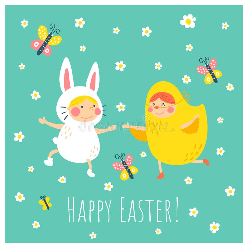 Easter bunny chicken stock vector Illustration of decorative - easter greeting card template