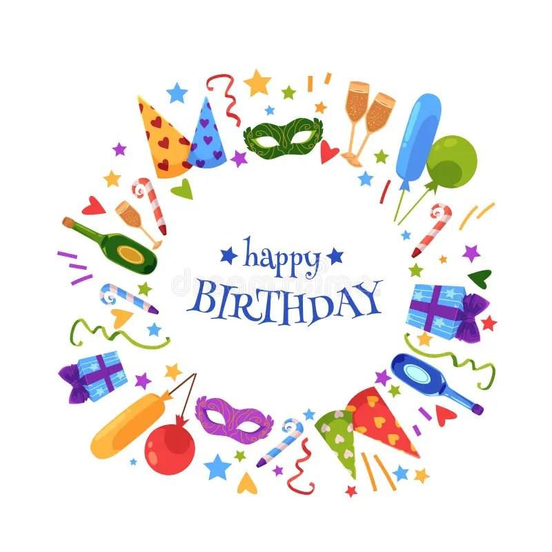 Vector Flat Happy Birthday Card Template Stock Vector - Illustration