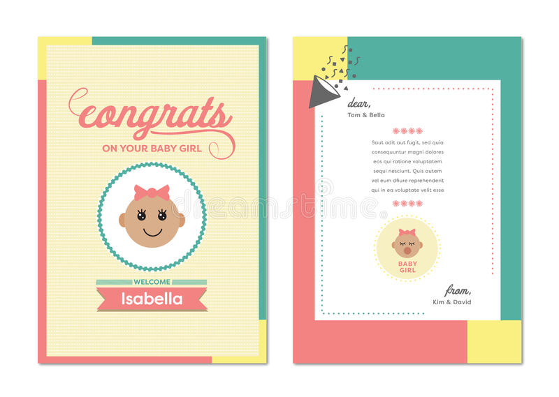 Vector Icon Of Congratulation Greeting Card On Birth Of Baby Girl - Birth Of Baby Girl
