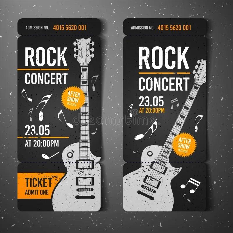 Vector Illustration Black Rock Concert Ticket Design Template With - concert tickets design