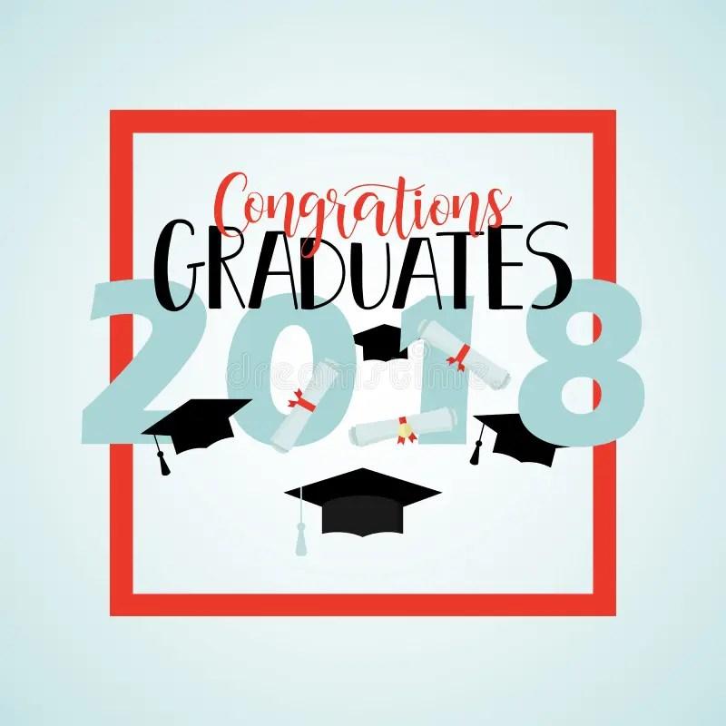 Vector Illustration On Blue Background Congratulations On Graduation