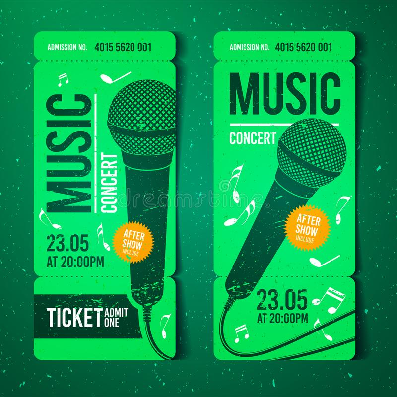 Vector Illustration Music Concert Ticket Design Template With