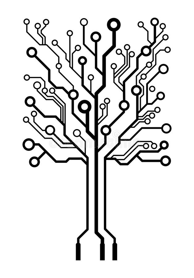 vector square circuit board tree stock photography