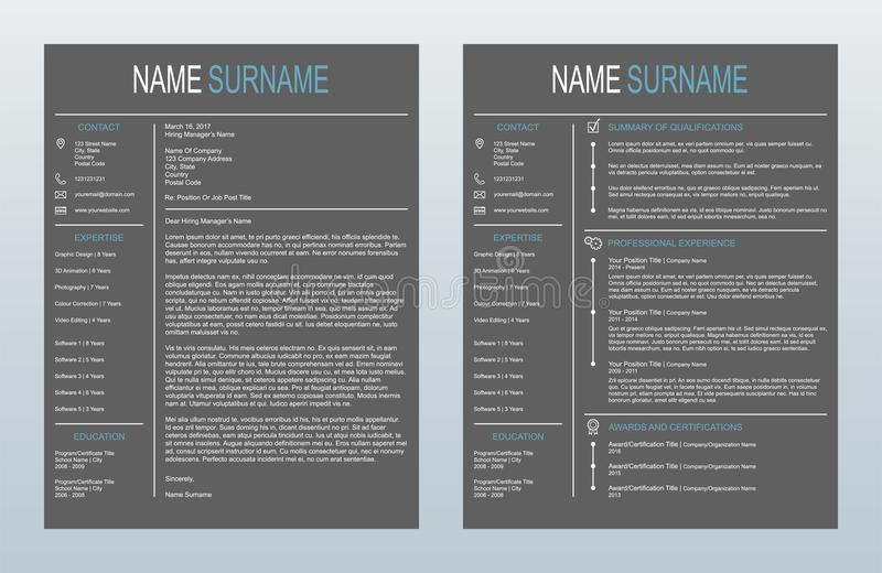Vector Minimalist Creative Cover Letter And One Page Resume/CV