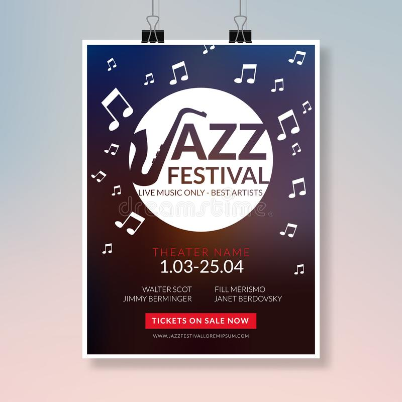 Vector Musical Flyer Jazz Festival Music Concert Poster Background