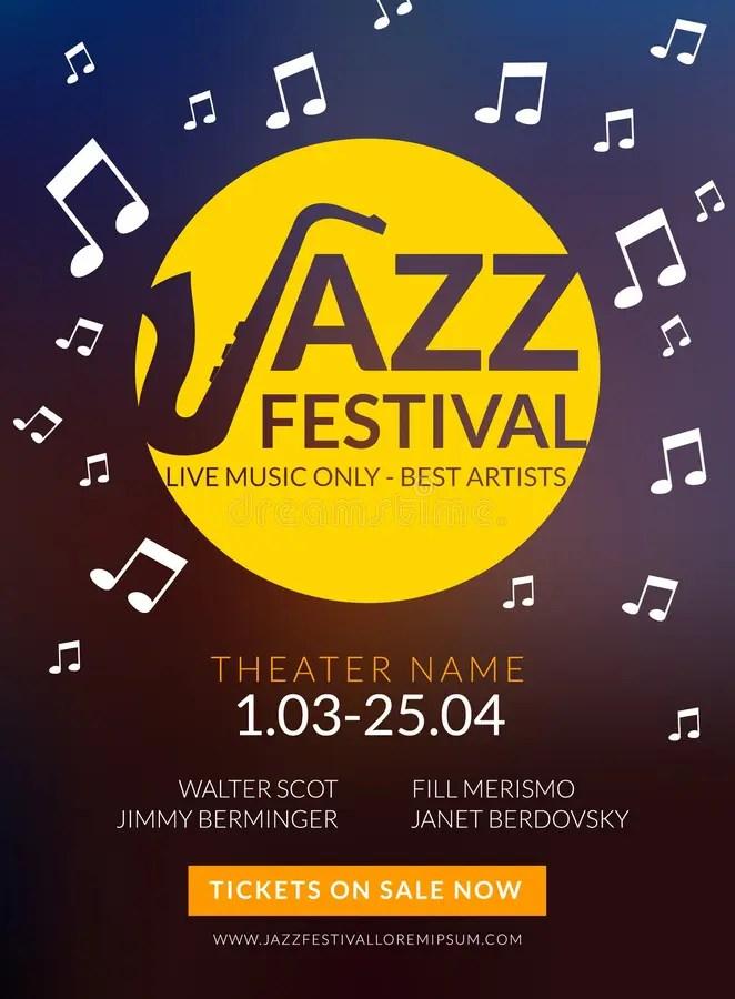 Vector Musical Flyer Jazz Festival Music Poster Background Festival
