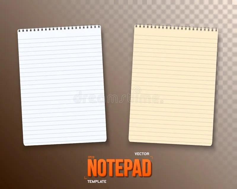Vector Notepad Set Paper Notebook Template Stock Vector - notepad paper template