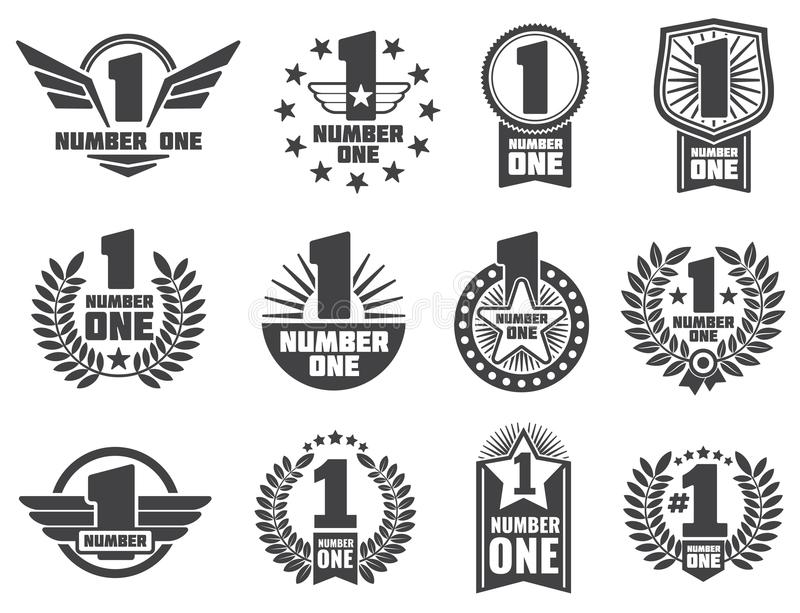 Vector Number One Retro Corporate Identity Logos And Labels Stock