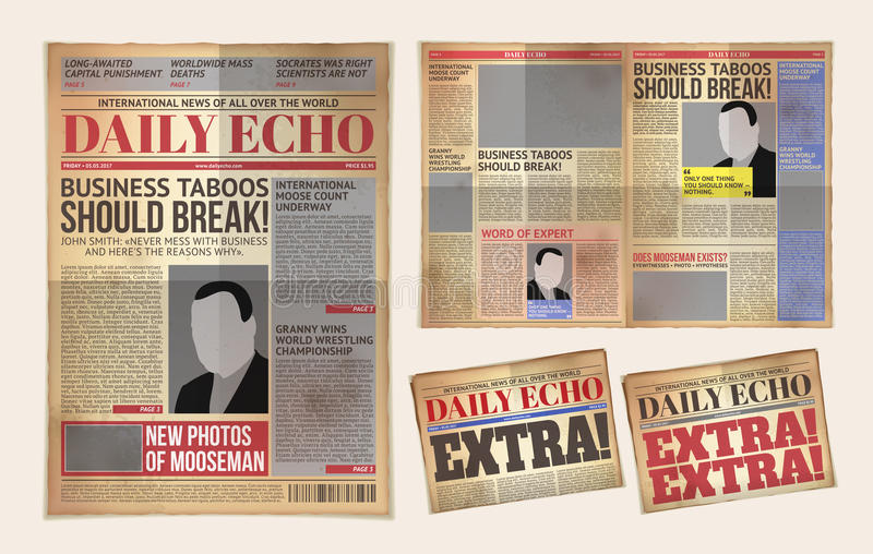 Vector Old Daily Newspaper Template, Tabloid, Layout Posting - old newspaper template