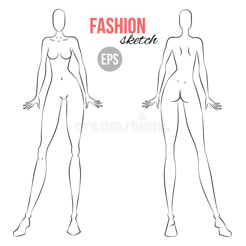 Vector Outline Girl Model Template For Fashion Sketching