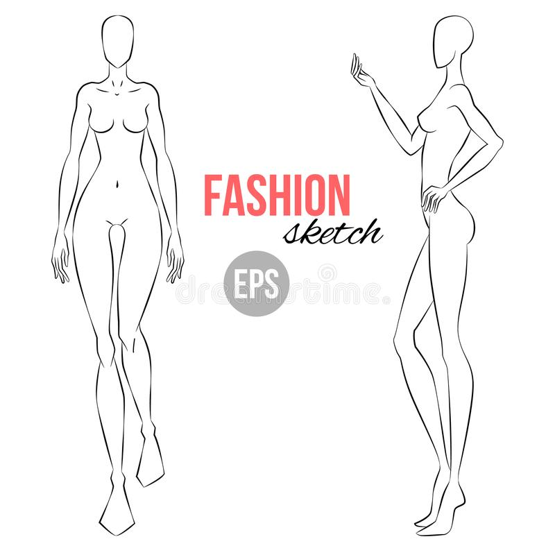 Vector Outline Girl Model Template For Fashion Sketching - fashion template