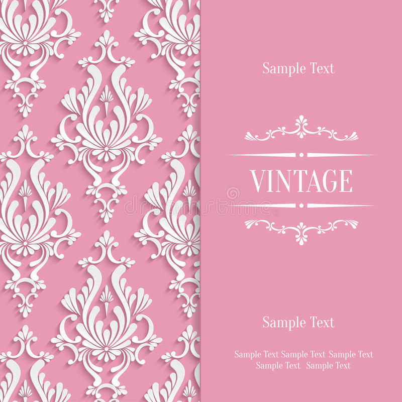 Vector Pink 3d Vintage Invitation Card Template With Floral Damask