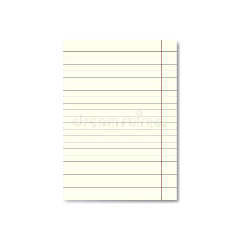 Vector Realistic Lined Paper Sheet With Margins Stock Illustration - blank lined paper template