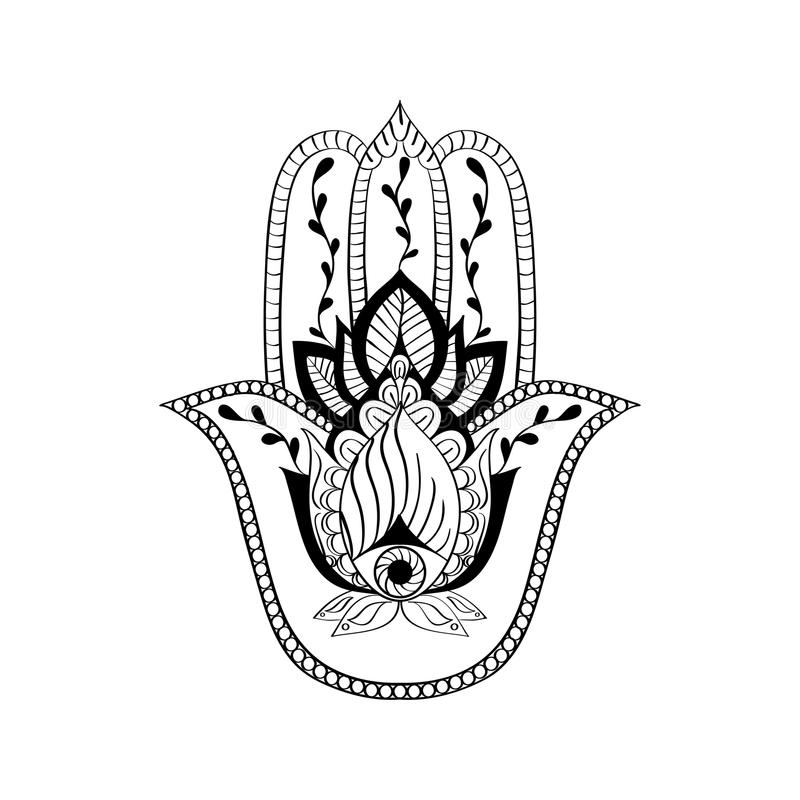 Hamsa Hand Buddhismus Vector Sacred Sign - Hamsa Hand, Hand Of Fatima. Indian