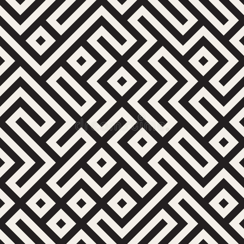Vector Seamless Black And White Maze Lines Geometric Pattern Stock