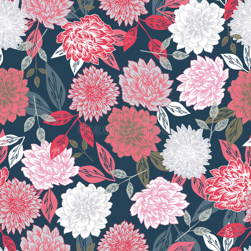 2 Asian Girls Wallpaper Drawing Vector Seamless Floral Print Background Stock Photo