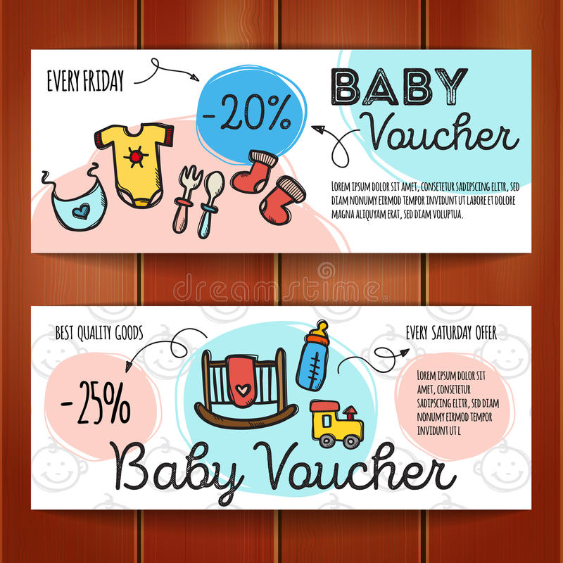 Vector Set Of Discount Coupons For Baby Goods Colorful Doodle - discount coupons templates