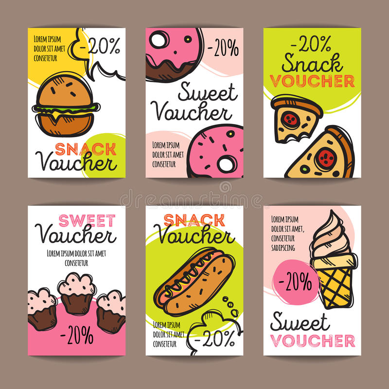 Vector Set Of Discount Coupons For Fast Food And Desserts Colorful - Lunch Voucher Template