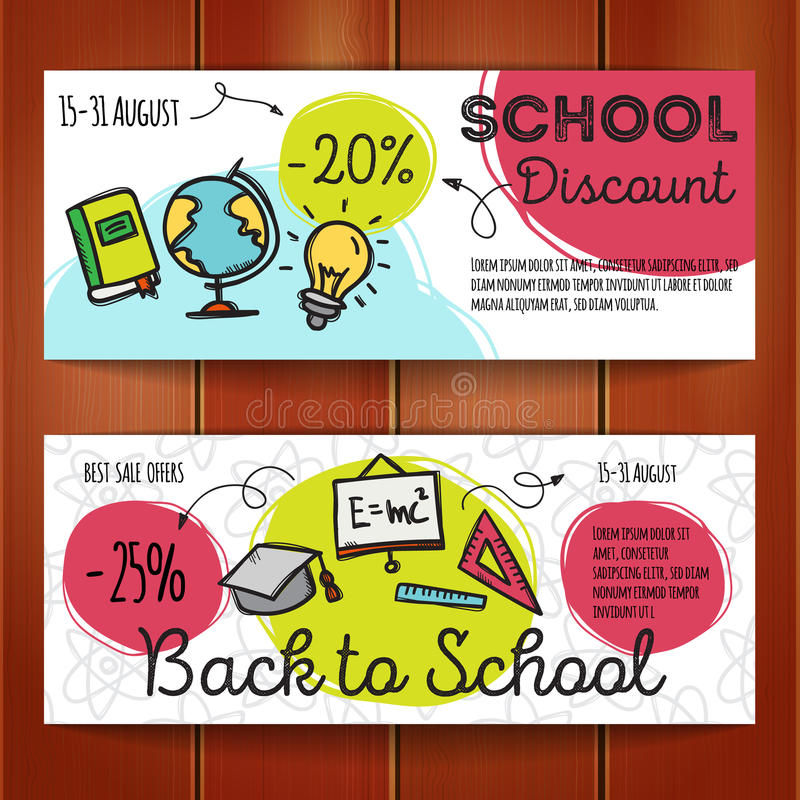 Vector Set Of Discount Coupons For Stationary Accessories Colorful