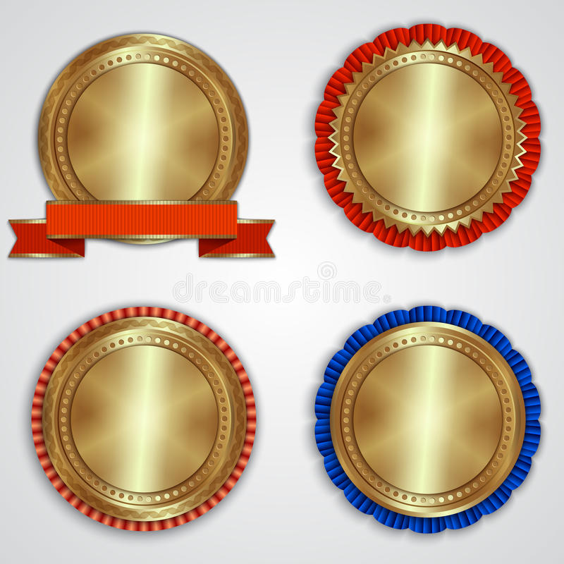 Vector Set Of Round Golden Badge Labels With Stock Vector - gold medal templates