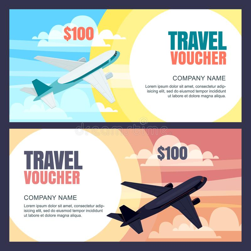 Vector Travel Voucher Template Flying Airplane, Day And Night