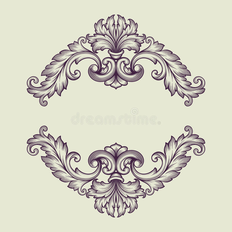Vector Vintage Baroque Border Frame Design Stock Vector - baroque scroll designs