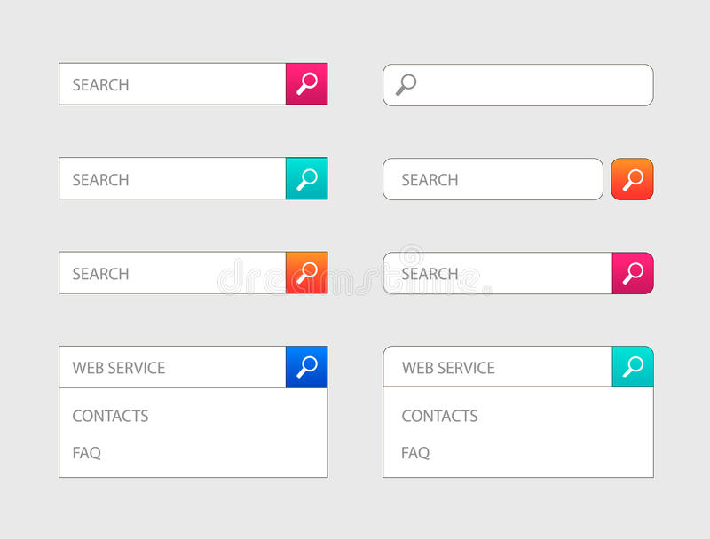 Vector Web Search Bar Design Templates Set Of Icons In Colorful
