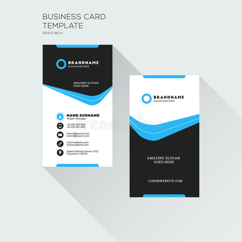 Vertical Business Card Print Template Personal Visiting Card Wi