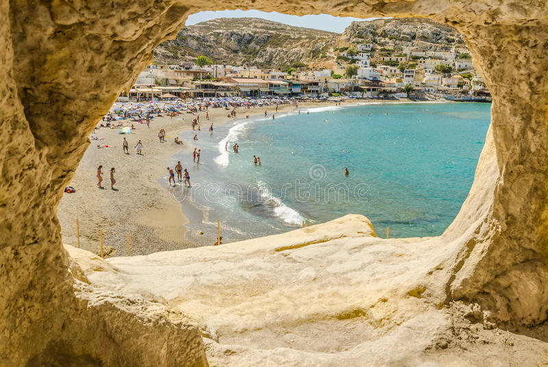 Matala Kreta Hippie View On The Beach Matala, Crete Stock Photo - Image Of