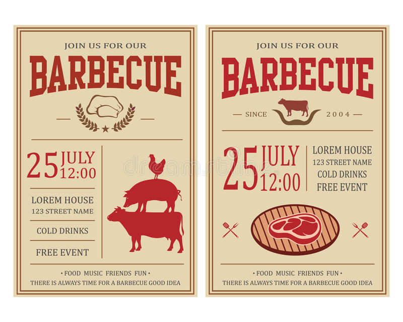 Vintage Barbecue Party Invitation BBQ, Food Flyer Template Stock