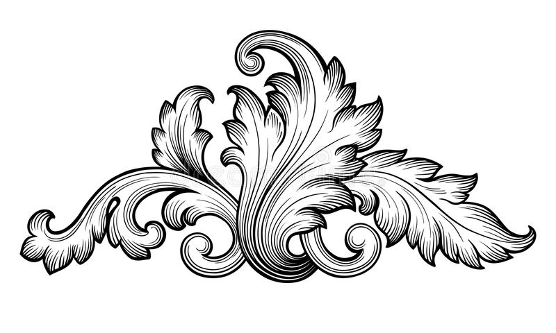 Vintage Baroque Floral Scroll Ornament Vector Stock Vector - baroque scroll designs