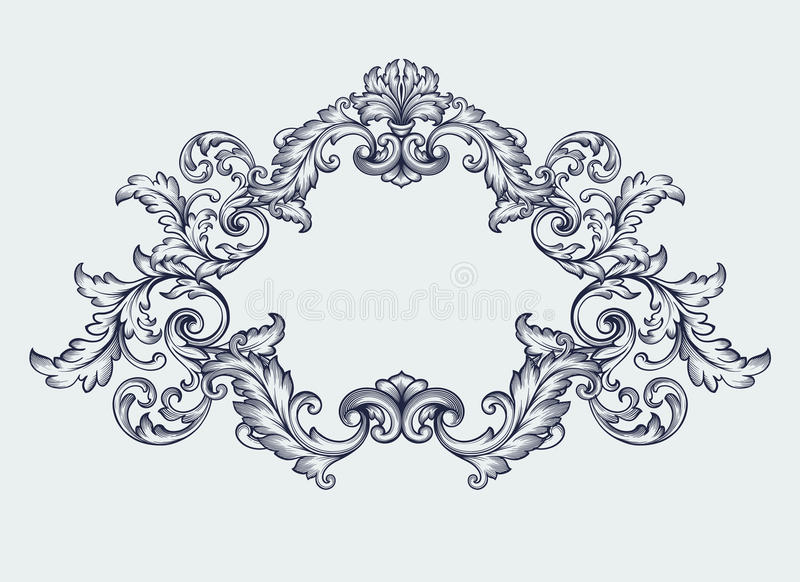 Vintage Baroque Frame Border Scroll Design Vector Stock Vector - baroque scroll designs