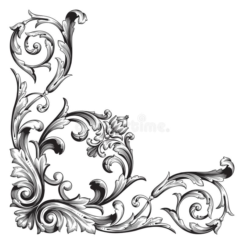 Vector Baroque Ornament In Victorian Style Stock Vector - baroque scroll designs