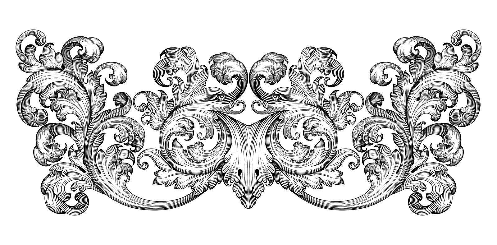Vintage Baroque Frame Scroll Ornament Vector Stock Vector - baroque scroll designs
