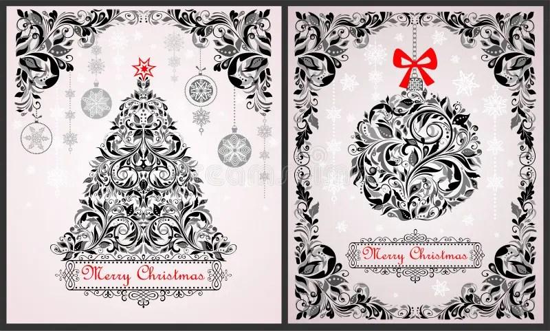 Vintage Christmas Black And White Greeting Cards With Floral Xmas - christmas cards black and white