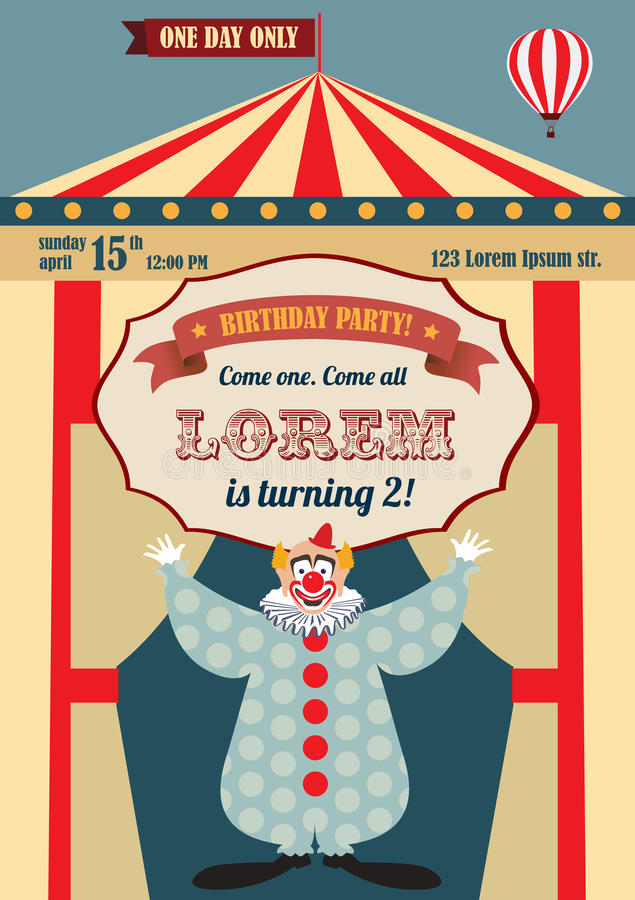 Vintage Circus Birthday Invitation Stock Vector - Illustration of - circus party invitation