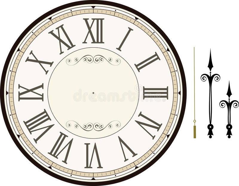 Vintage Clock Face Template Stock Vector - Illustration of hour