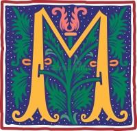 Vintage letter M in color stock vector. Illustration of ...